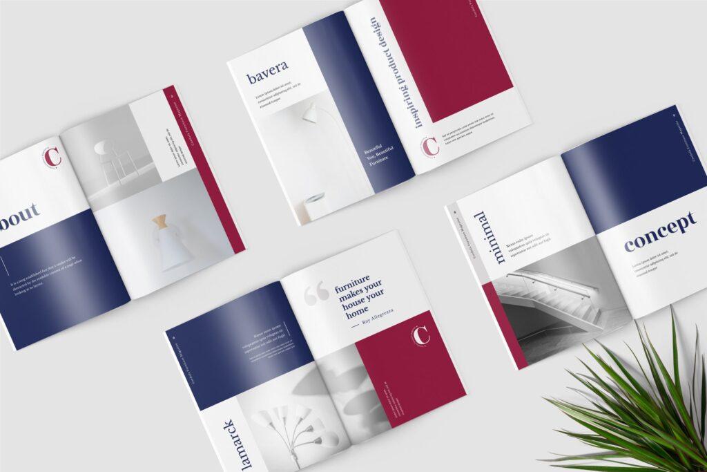 多用途欧美极致简洁版式画册杂志模版Cordofa Furniture Magazine Template插图(1)