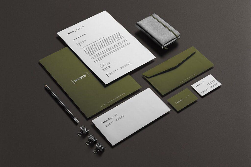 优质企业办公品牌文具样机模型下载Corporate Stationery Branding Mockup插图(1)
