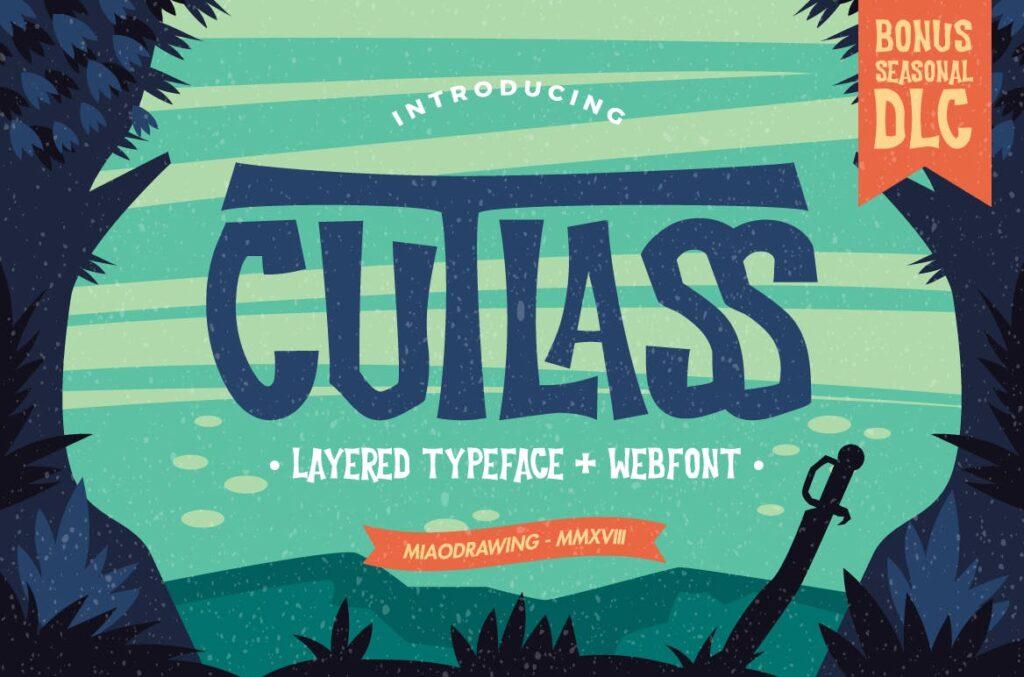 经典的恐怖漫画和海盗文化海报装饰字体Cutlass Typeface Lite插图(1)