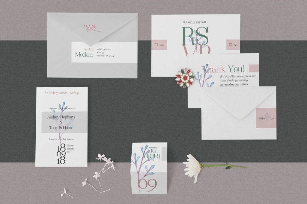 优雅婚礼邀请函贺卡模型样机素材下载Elegant Wedding Stationery Mockups插图(1)