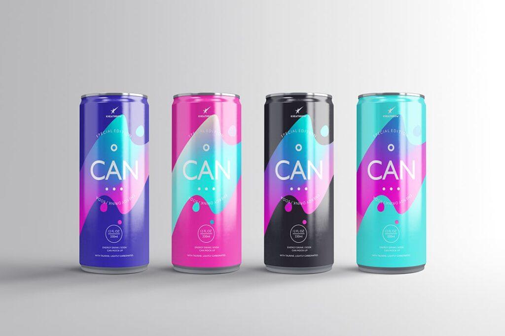 简约能量/苏打饮料易拉罐包装模型样机Energy Soda Drink Can Packaging MockUps Vol1插图(1)