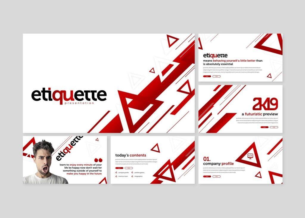 几何纹理礼仪活动宣讲PPT幻灯片模板Etiquette Powerpoint Template插图(1)
