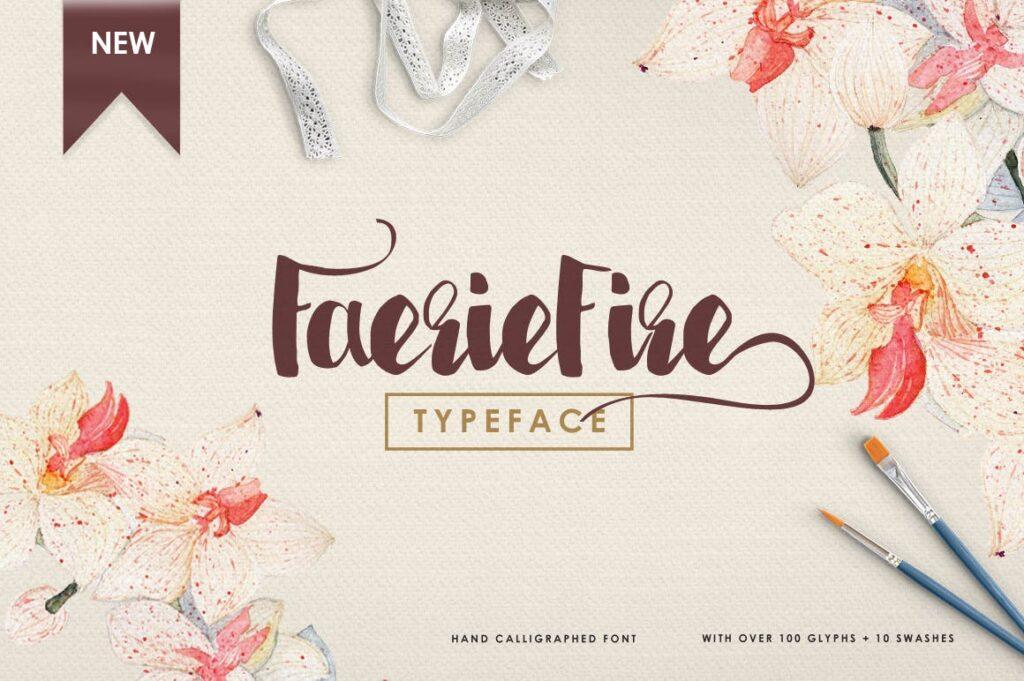 书籍/封面标题英文马克笔手写无衬线字体下载Faeriefire Typeface插图(1)