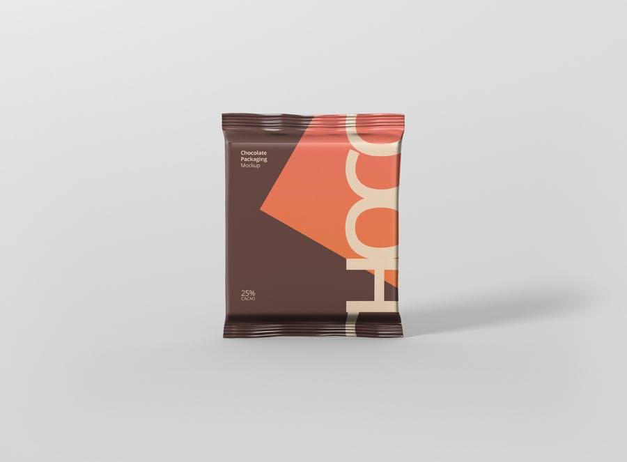 真空巧克力包装模型样机素材下载Foil Chocolate Packaging Mockup Square Size插图(1)