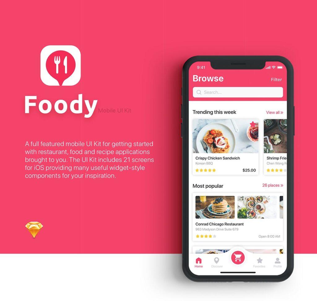 餐厅/食物和食谱应用程序UI组件模板素材Foody Food App UI Kit插图(1)