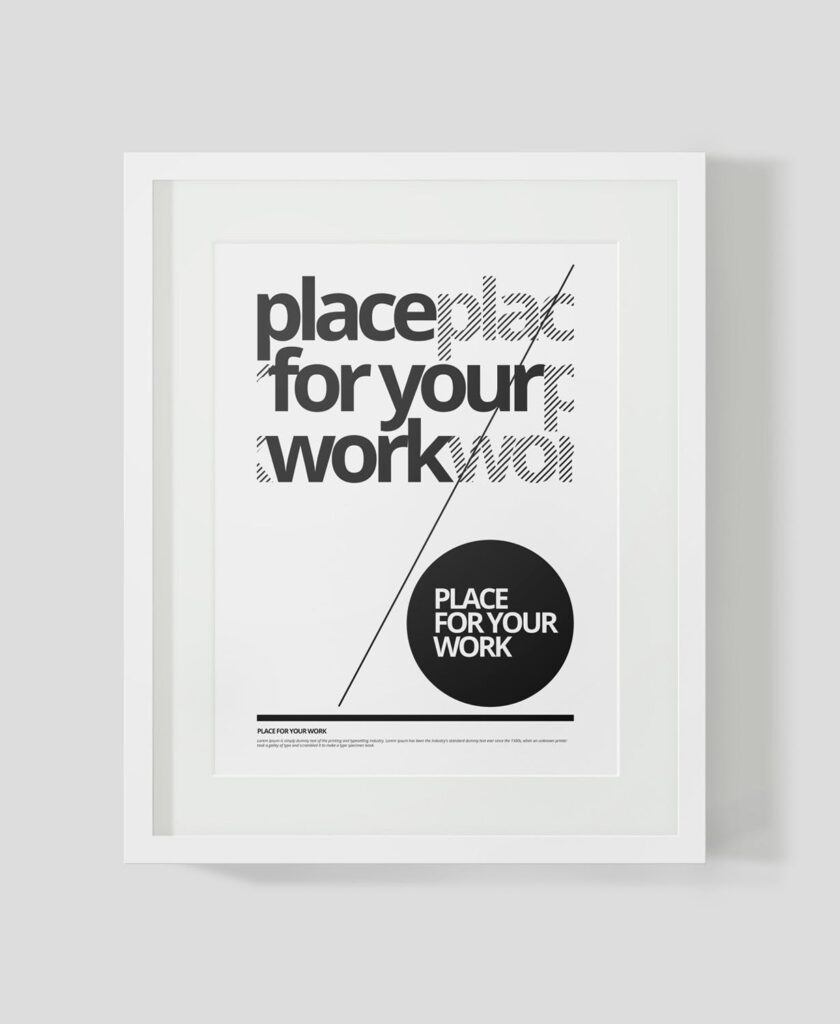 黑白艺术相框模型样机素材下载Frame For Your Work Pd73r4插图(2)