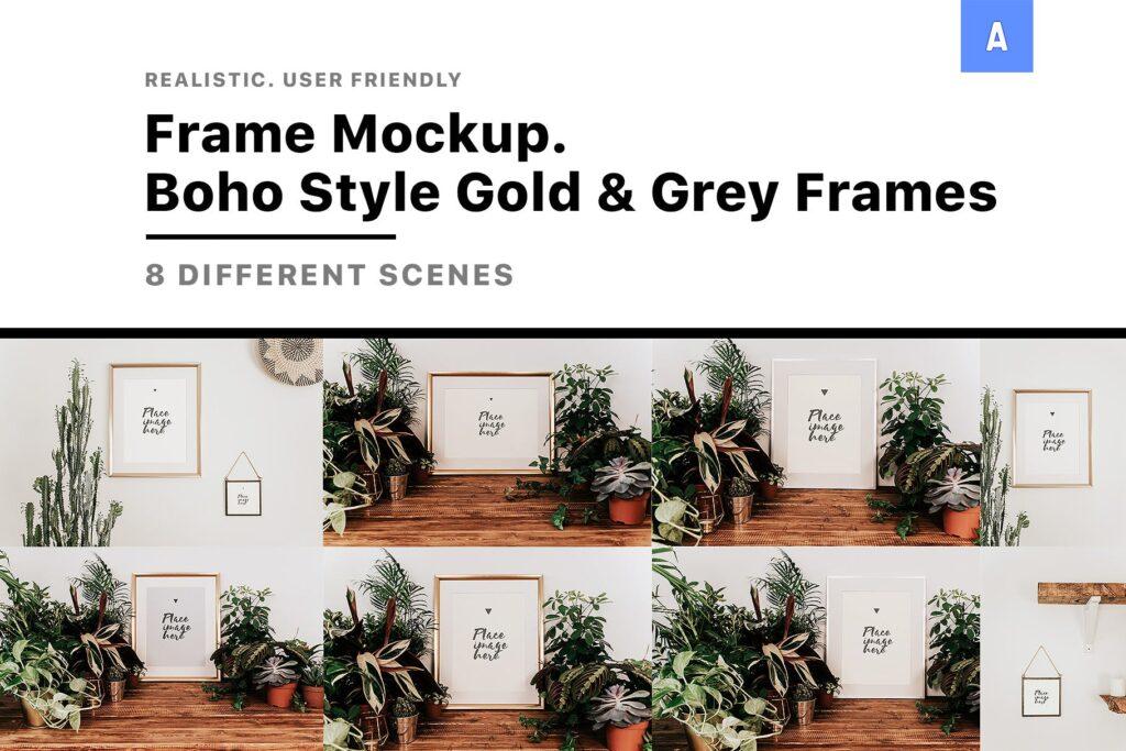 金色相框模型样机素材下载Frame Mockup Boho Style插图(1)