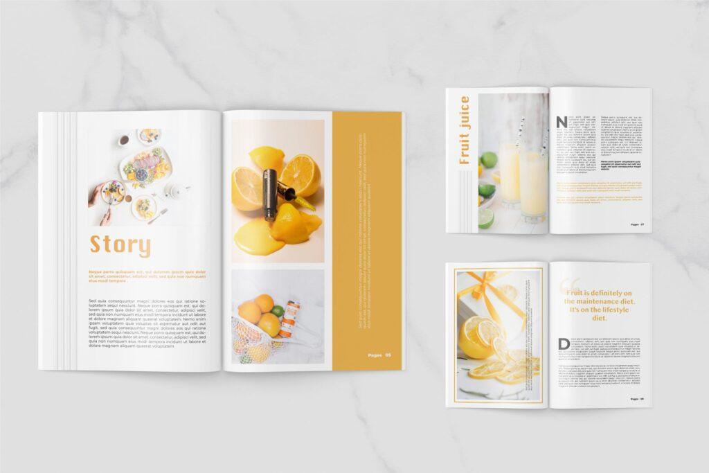 养生食品美食餐饮料理画册杂志下载Fruits Food Magazine Template插图(1)