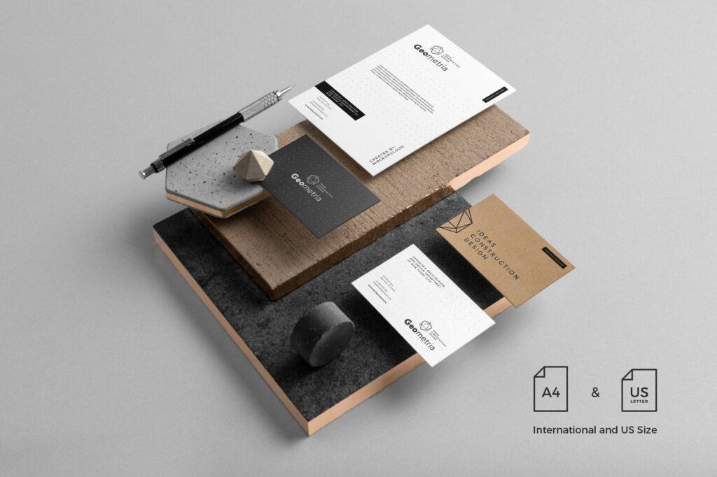 高端轻奢风房地产品牌VI模型样机效果图Geometria Branding Mockup Vol1插图(1)