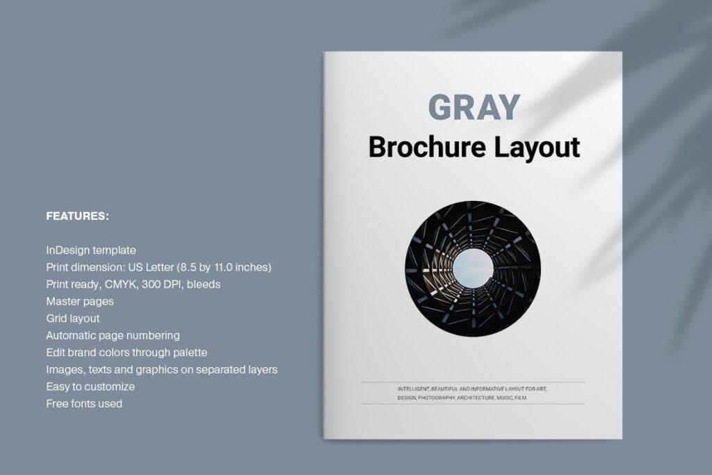 黑白经典艺术摄影画册杂志模板Gray Brochure插图(1)