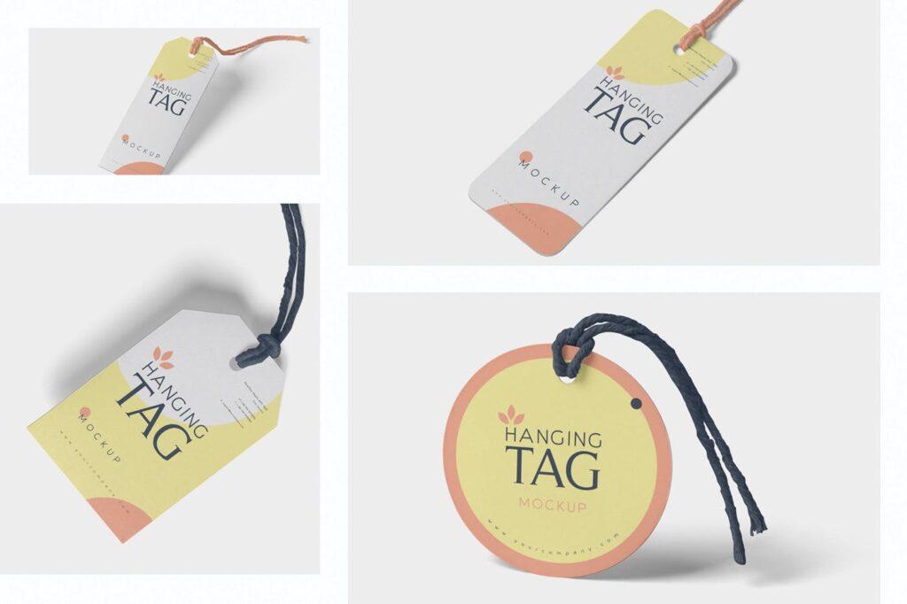方形/圆形服装吊牌模型样机素材下载Hanging Tag Mockups NG5P4SM插图(1)