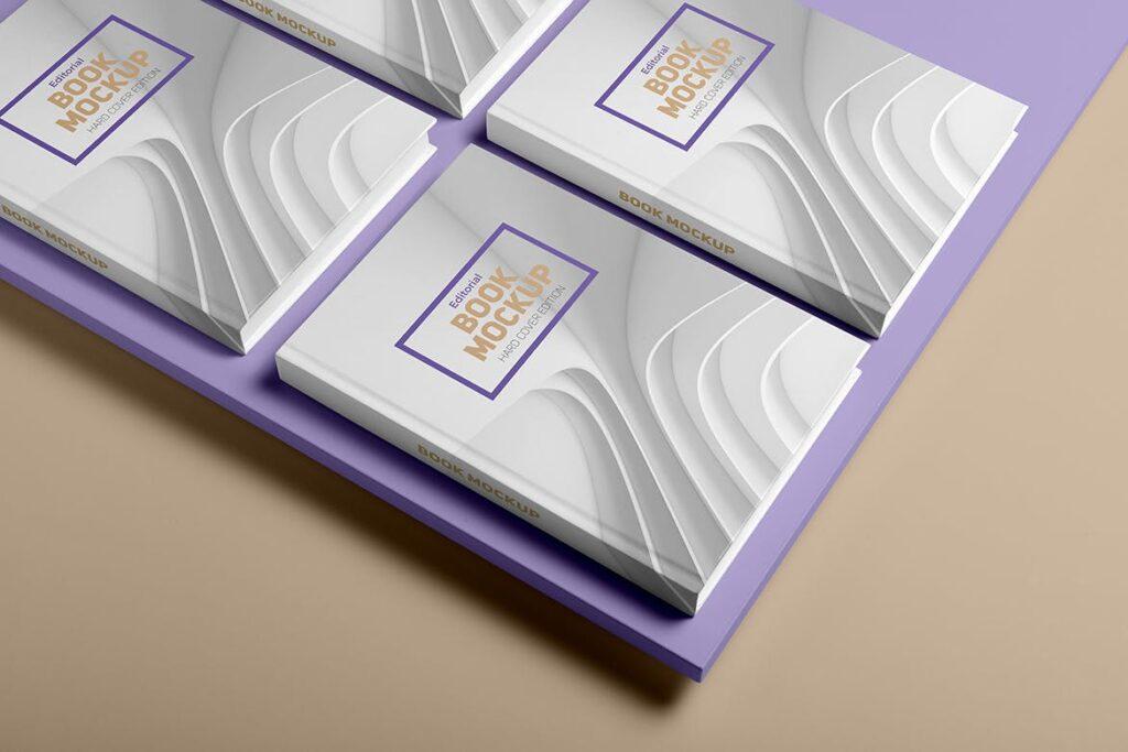 精装书硬卡纸封面PSD模型模板样机效果图Hardcover Book Mockup Vol 1插图(1)