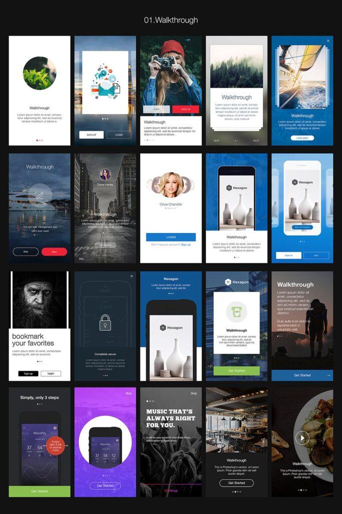 图片社交类应用UI组件模板素材Hexagon Mobile UI Kit插图(1)