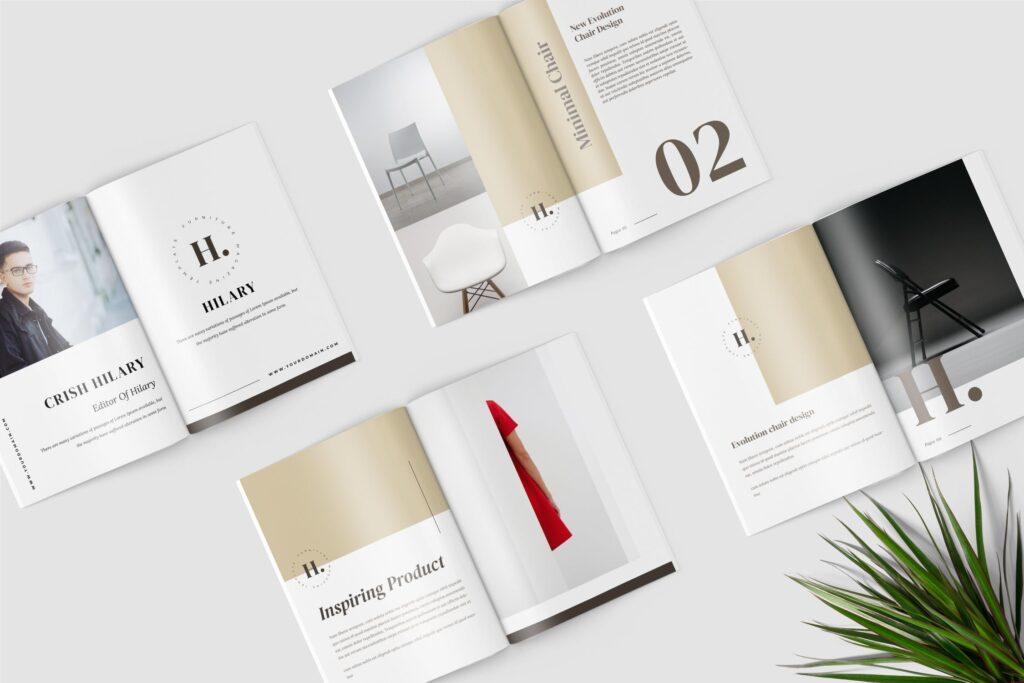 欧美家居/产品介绍画册杂志模版素材Hilary Furniture Magazine Template插图(1)