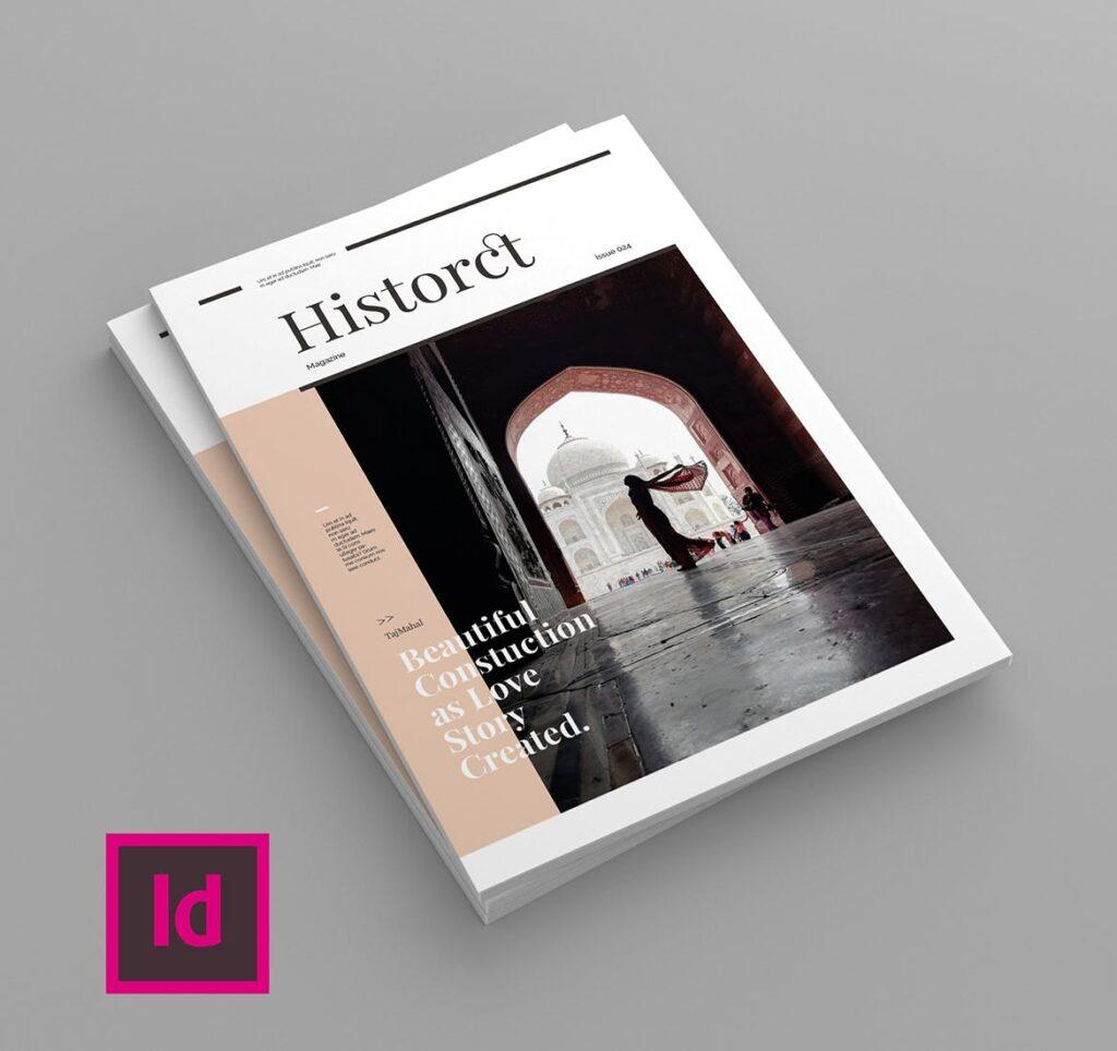 复古风格历史介绍类型杂志模板素材Historct Magazine Template插图(1)