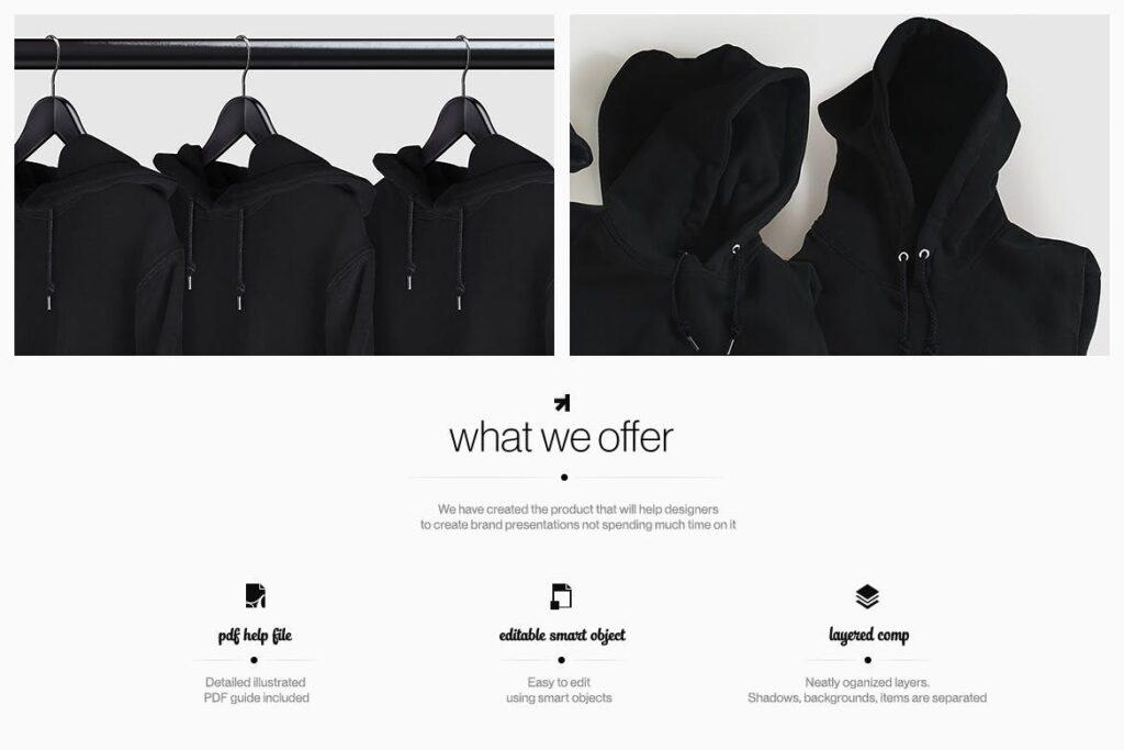 卫衣服装品牌展示样机模型效果图Hoodie Sweatshirt Presentation Mockup插图(1)