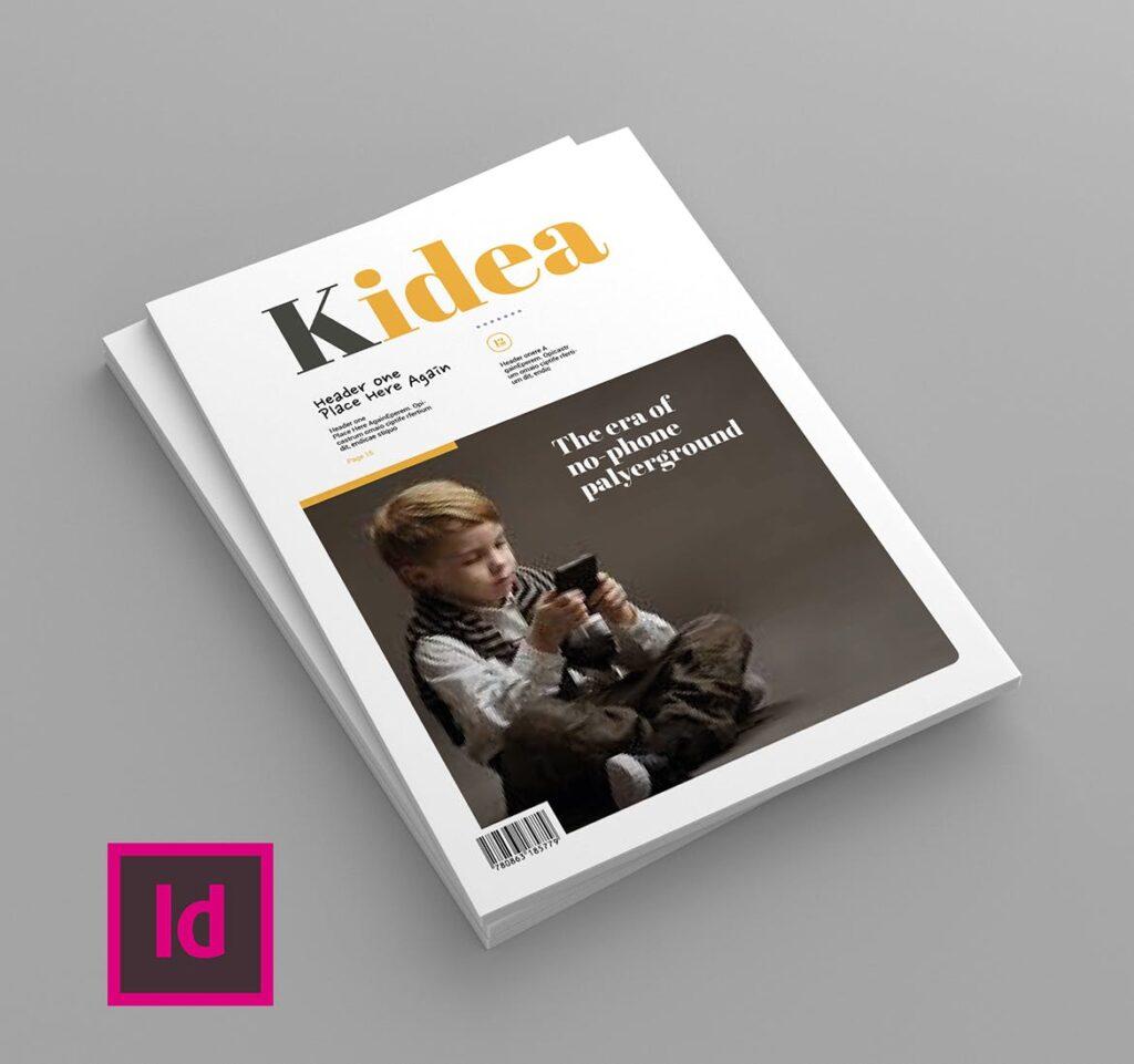 关爱儿童教育/公益事业宣传画册模板Kidea Magazine Template插图(1)