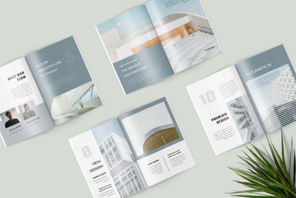经典建筑设计类主题画册杂志模版Kmona Furniture Magazine Template插图(1)