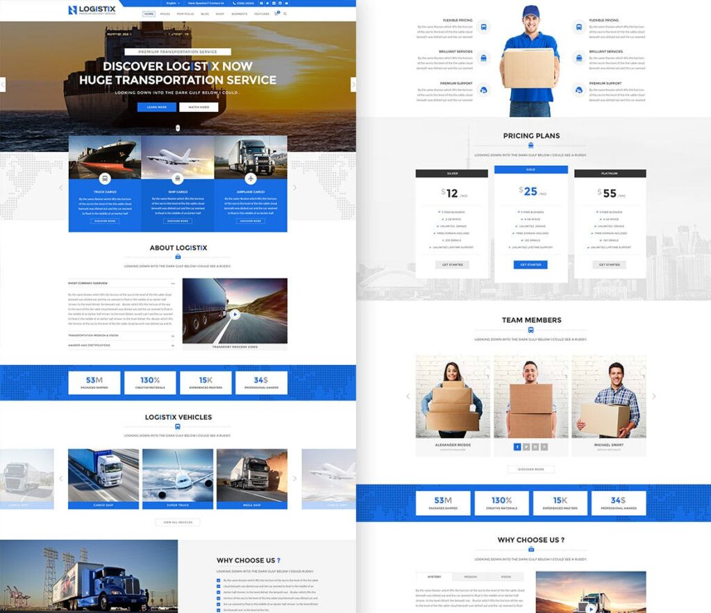 远洋运输航运物流行业网站模板素材Logistix Transportation PSD Template插图(1)