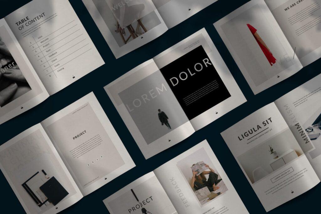 现代简约企业规划书画册模板Lookbook Minimal Brochure Business Company插图(1)