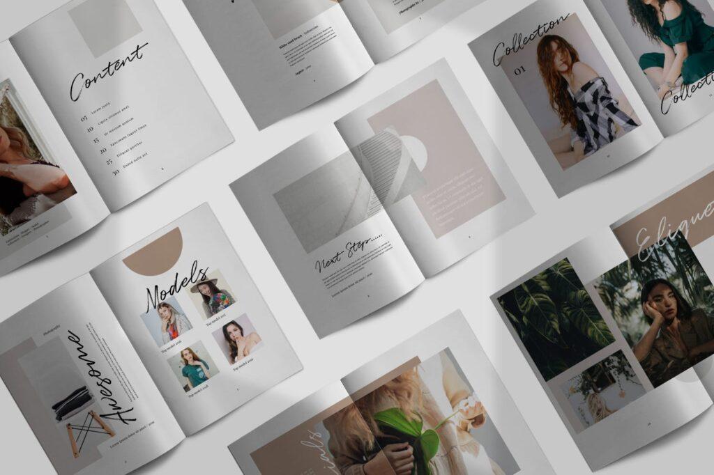 时尚企业产品目录/室内设计案例介绍画册模板Lullaby Lookbook Minimal Portfolio Corporate插图(1)