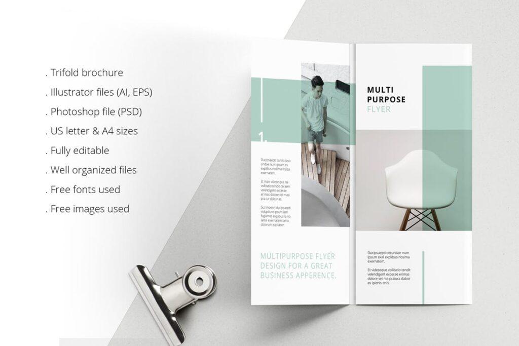 企业简洁板式三折页模板素材下载MINT Multipurpose Trifold Brochure插图(1)