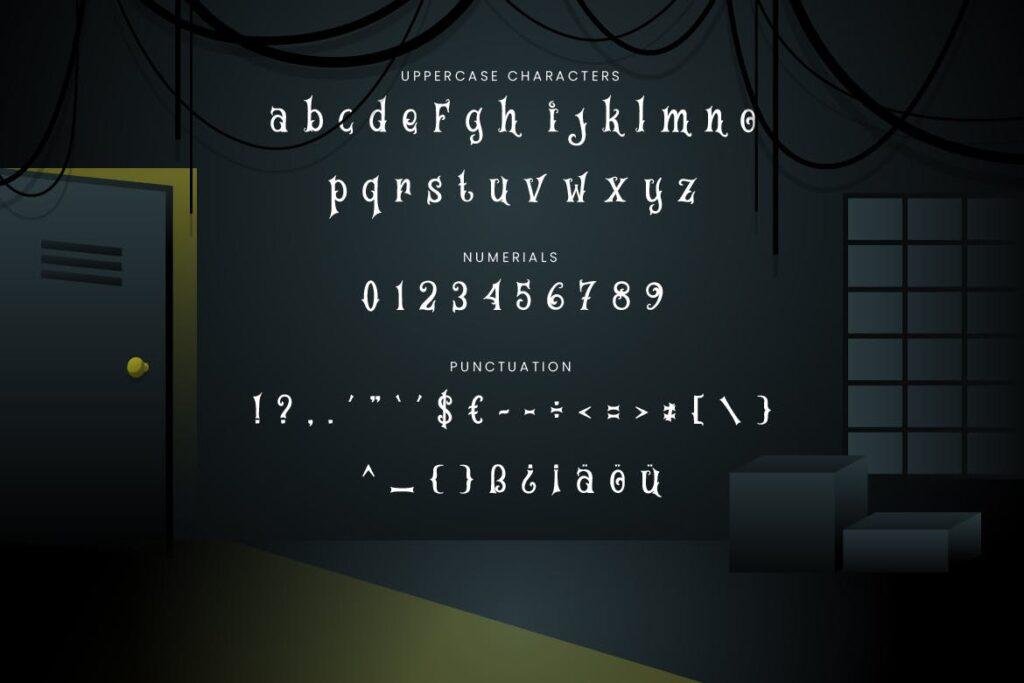 万圣节海报手写英文衬线字体下载Magic House Haunted Halloween Typeface插图(1)