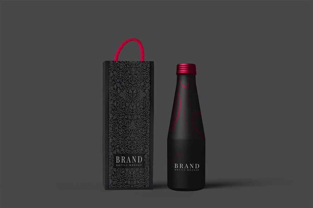 黑色金属瓶包装PSD样机模型效果图Metal Bottle Package Mockup插图(1)