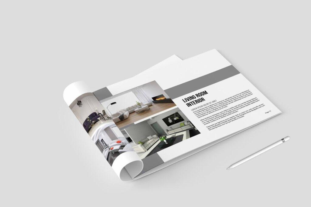 横版室内设计小册子/目录画册模板Minimal Interior Brochure插图(1)