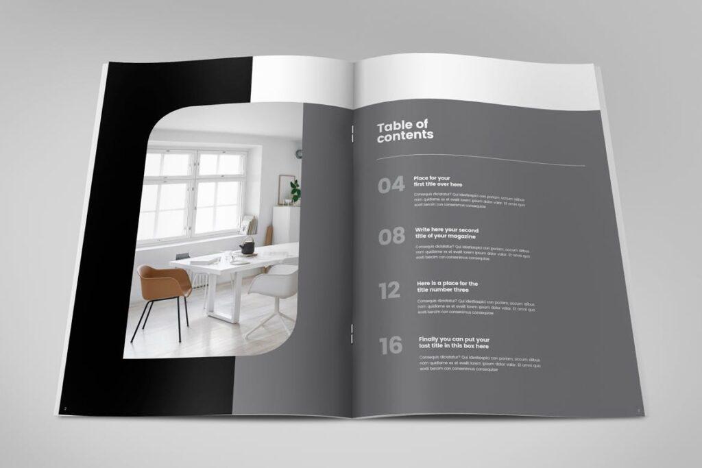极简室内设计/居家生活美学杂志画册模板Minimal Interior Design Magazine插图(1)