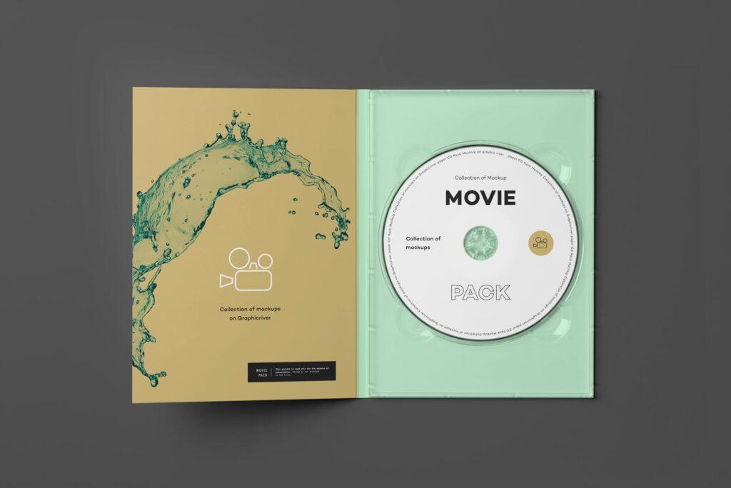 古典电影CD光盘包装/古典音乐唱片模型样机素材模型1Movie Pack Mockup 1插图(1)