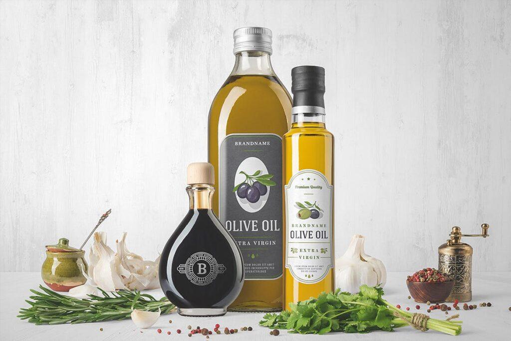 橄榄油瓶包装和香料模型样机素材下载Oil Bottle and Spices Packaging Mockup插图(1)