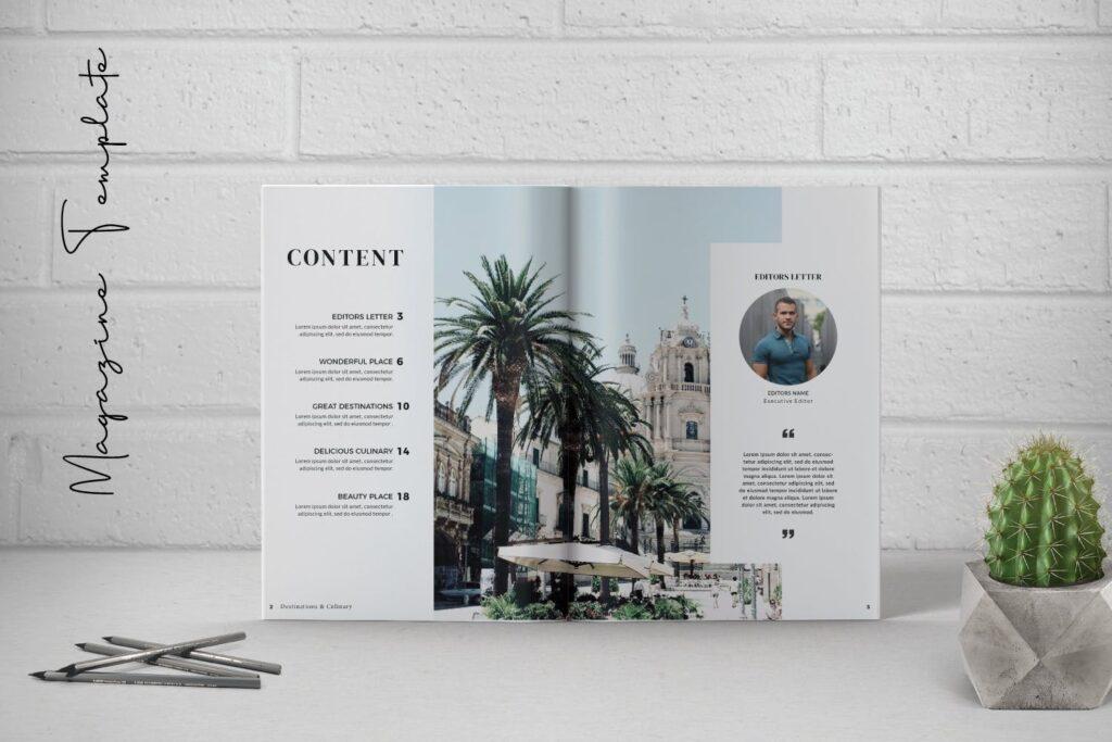 摄影工作室现代主题画册模版Place Magazine Template Lookbook插图(1)