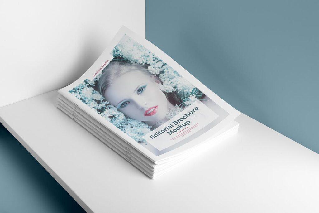 肖像A4小册子PSD模型模板样机Portrait Brochure Mockup Vol3插图(1)
