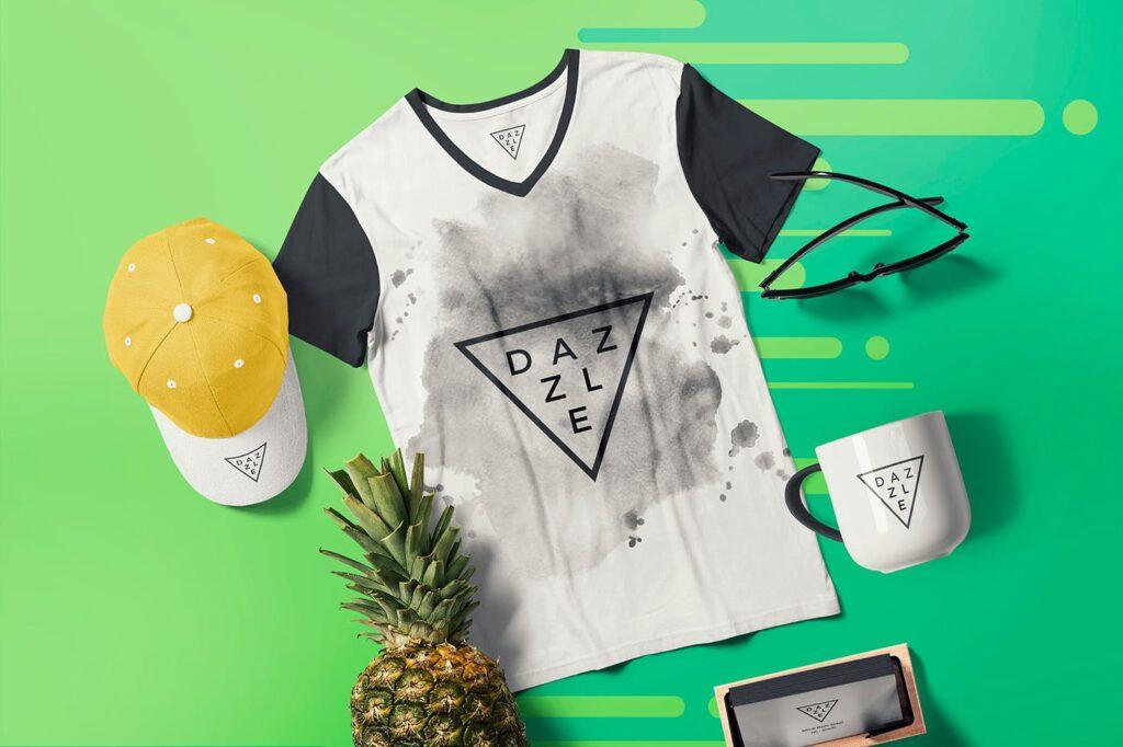 优质的灰色T恤展示场景模型样机素材Premium Quality T shirt Mockup Scenes TUJFU4插图(1)