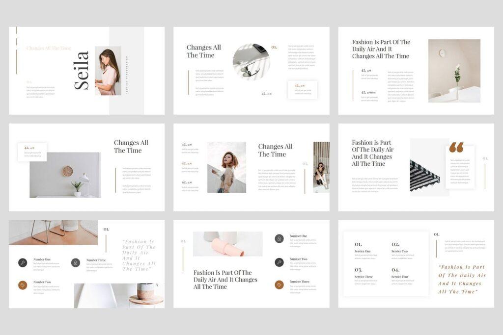 时尚行业企业销售数据汇报ppt幻灯片模板Seila Fashion PowerPoint Template插图(1)