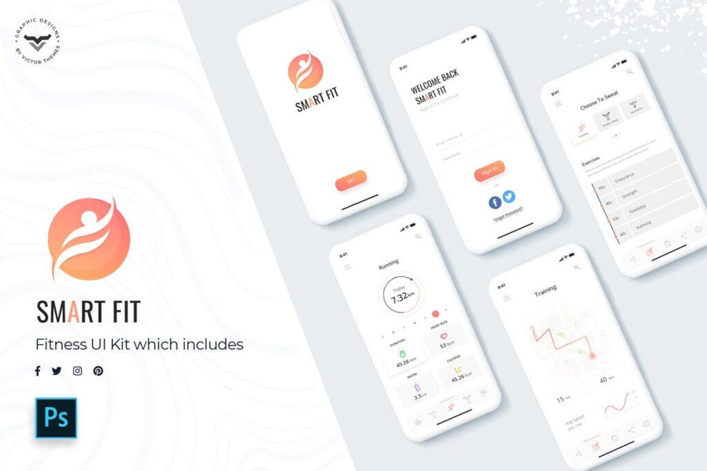 智能手表运动记步移动应用程序模板素材UI组件模板Smart Fit Mobile App UI Kit插图(1)