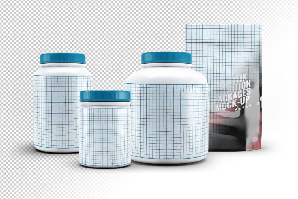 健身营养蛋白粉包装瓶样机模型下载Sport Nutrition Packages MockUp插图(1)