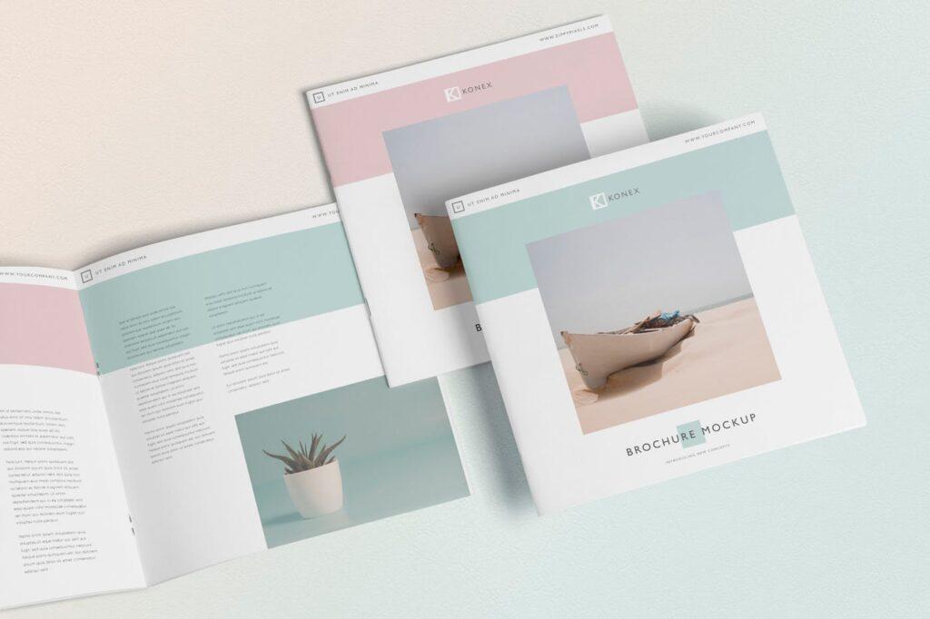 企业介绍类小册子/杂志模型样机素材下载Square Brochure Magazine MockUp插图(1)