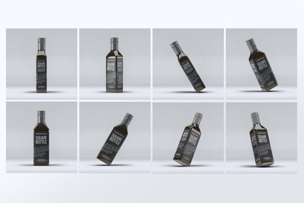 厨房通用调味瓶/黑色方形玻璃瓶模型样机素材Square Glass Bottle MockUp插图(1)