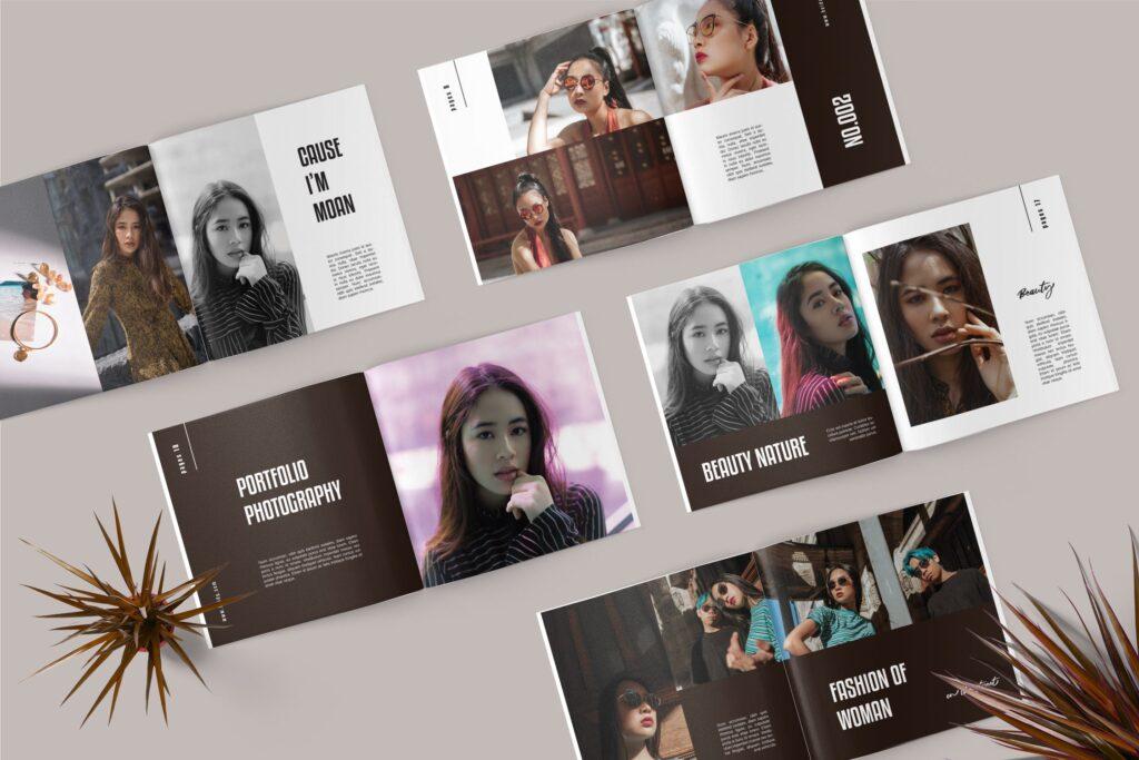 摄影作品集个人经典写真集杂志画册模版Square Photobook Magazine插图(1)