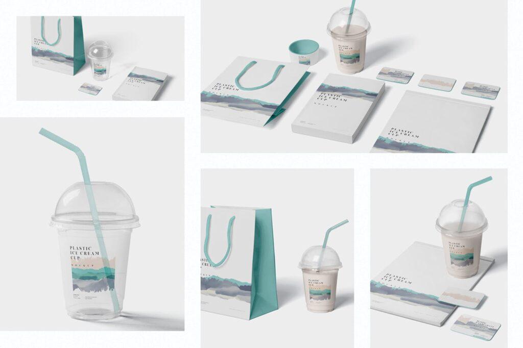 塑料透明冰激凌杯模型样机/品牌包装Transparent Plastic Ice Cream Cup Mockups插图(1)