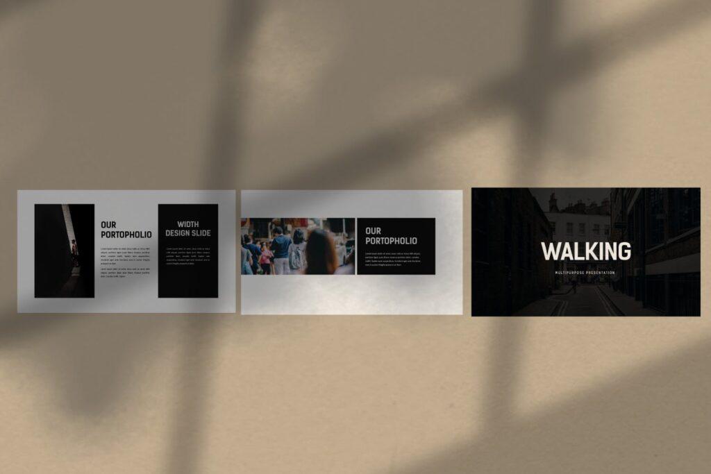 出行行业数据调研及用户分析画像PPT幻灯片模板Walking Powerpoint插图(1)