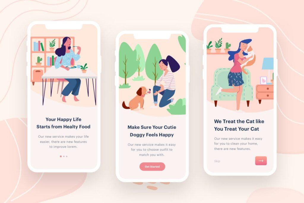 移动应用程序插画主题/启动页模板素材Womens Eat Play Illustration插图(1)