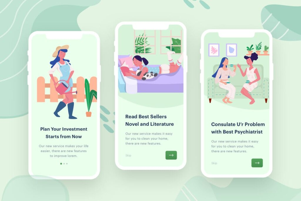 移动应用程序启动页插画闪屏/居家生活场景插画Womens Learn Socialize插图(1)