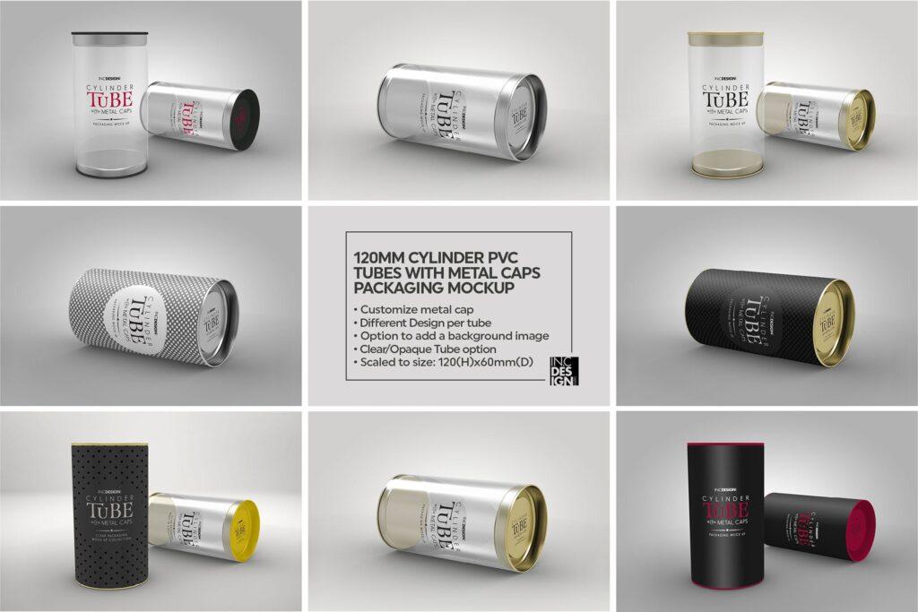 带有金属盖的PVC圆筒管包装样机模型/多角度展示样机效果图120mm Cylinder Tube Packaging Mockup插图(2)