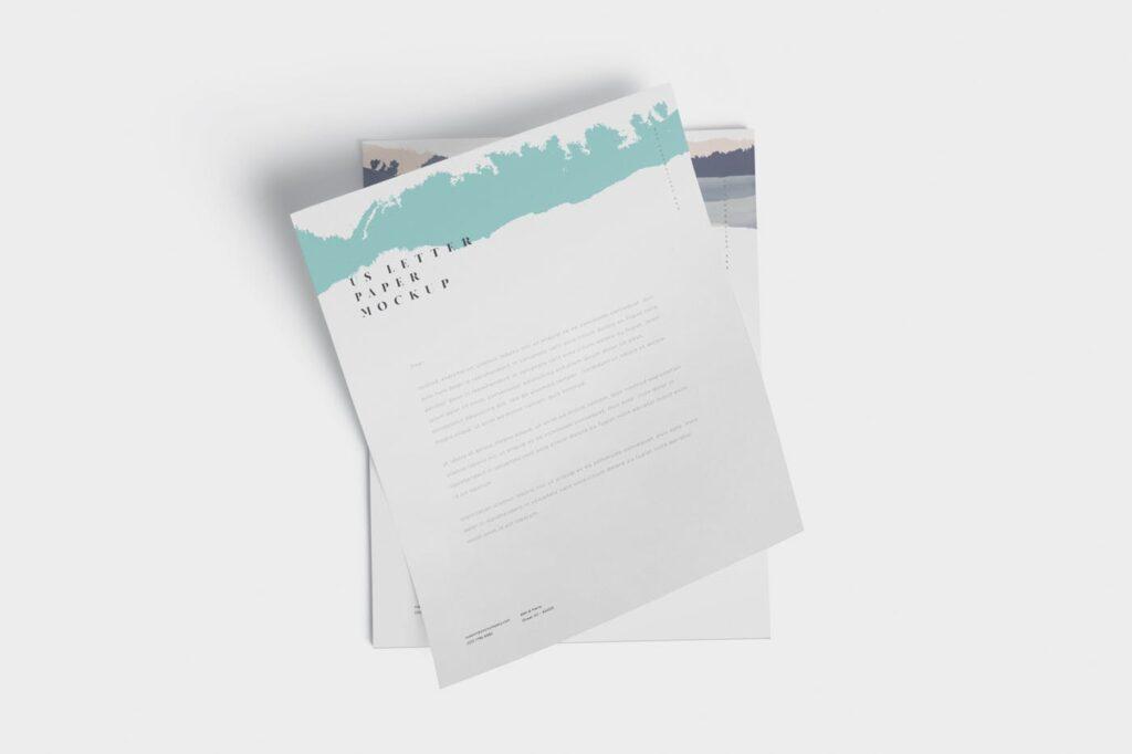 企业宣传传单模型样机效果图下载5 US Letter Paper Mockups插图(2)