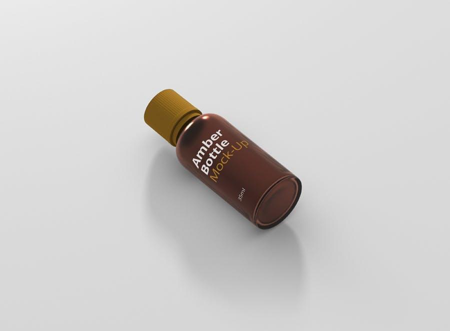 6个高品质琥珀药品瓶模型样机Amber Bottle Mockup插图(2)