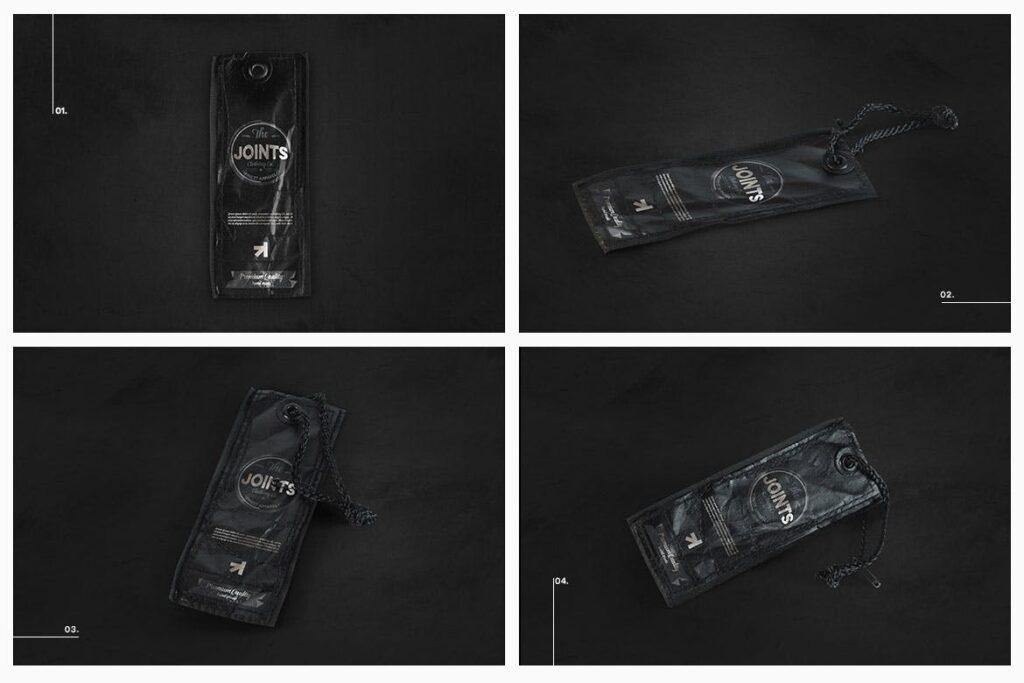 8个黑色高端优质标签模型样机Black Edition Tag Label Mockup插图(2)