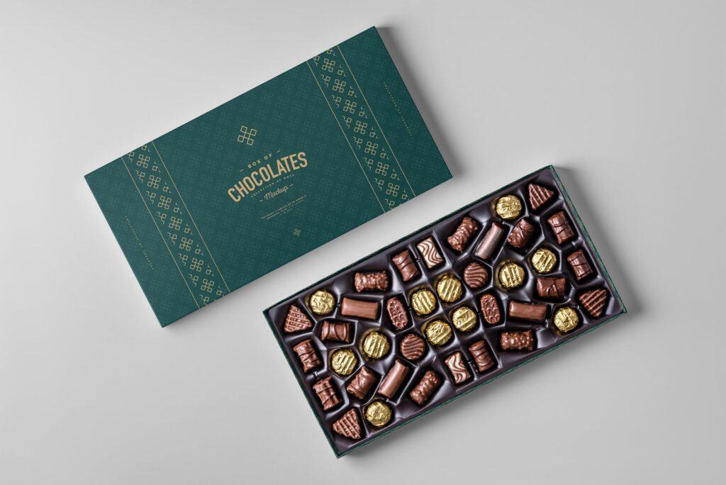 精致巧克力品牌包装模型样机效果Box Of Chocolates Mockup 2插图(2)